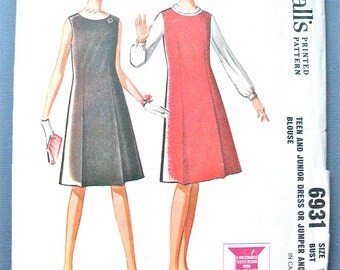 1960s McCall's 6931 A-line Dress or Jumper Vintage Sewing Pattern  Bust 34 inches