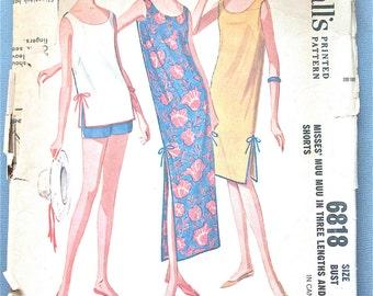 Vintage 1960s McCall's 6818 Sleeveless, scooped neck Muu Muu Dress Sewing Pattern  Bust 32 inches