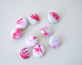 """9 fabric covered buttons - 3/4"""" or 20mm - Shabby Chic Ballet Rose 100% cotton fabric"""