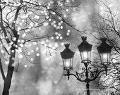 Paris Photography, Sparkling Fairy Lights Street Lanterns, Paris Lights Lanterns Lamp Posts Art Print, Paris Black and White Photography