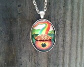 """St Patrick's Day Pot of Gold Rainbow Glass Dome Pendant Tray Necklace 24"""" Rolo Chain Antique Silver Finish"""