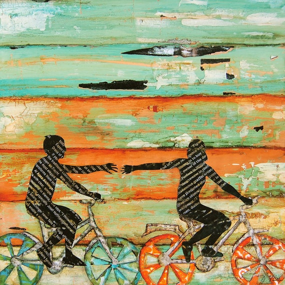 Valentines Day Bicycle Couple Beach ART PRINT or CANVAS Bike Biking love wedding engagement gift cycling poster wall home decor,All Sizes