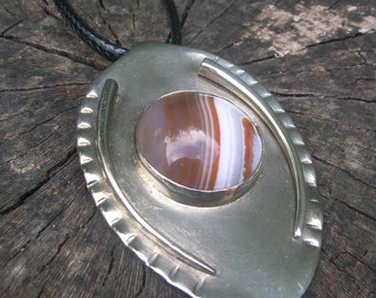 Spoon Pendant with red Agate gemstone - metalsmith jewelry