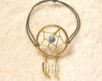 Gold Dream Catcher with Brown Stretch Cord Bracelet