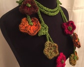 Flower Necklace, Statement Fiber Necklace, Flower Accessory, Elegant Necklace, Jewelry For Her