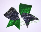 Green and Navy Bling  Cheer Bow ~ Softball Bow