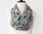 FREE SHIPPING Light Grey Infinity Scarf - Loop Scarf - Circle Scarf - Brown Scarf - Cotton scarf Cowl Scarf