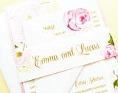 Wedding Invitation, Romantic Rose Wedding Invitation, Wedding Invite, Pink and Gold Rose Quartz Floral Wedding Invitation