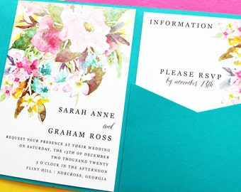 Wedding Invitation - Watercolor Floral Pocketfold Wedding Invitation - Wedding Invite - Pocket Fold Wedding Invitation - Pocket Invitation