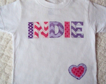 Girls Personalized Shirt -Chevron and Polka Dots on a White Shirt -Personalized Shirts