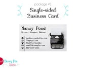 Vintage Typewriter on White Business Card - Premade Design (Single or Double-sided card options)