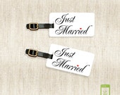 Personalized Luggage Tags Just Married Metal Luggage Tag Set Personalized Back | Metal Tags Printed Personalization