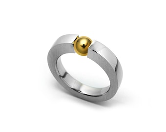 Mens Gold & Stainless Steel Two Tone  Ring Tension Set