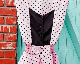 SPECIAL sale! Early 90's Pink and Black Polka Dot Button up Blouse on SPECIAL SALE!//small-medium