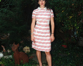 Vintage 1970s Mod Day Dress Red White and Blue Floral Dress S/M