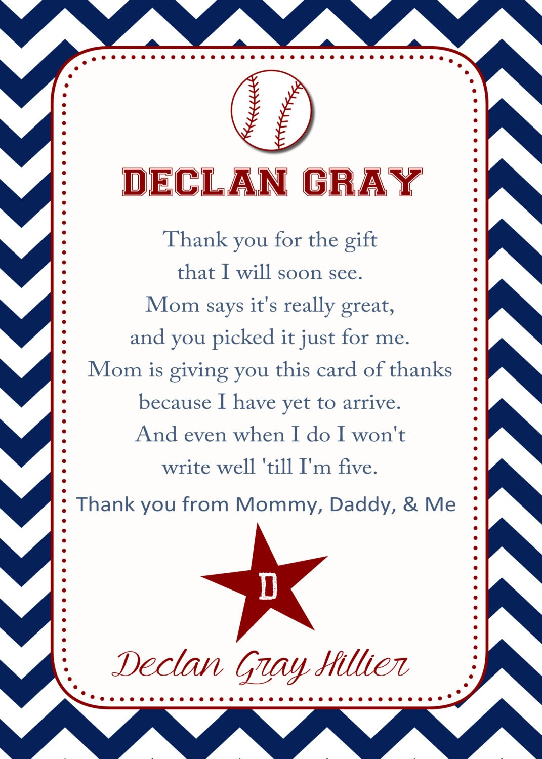 Baseball sports baby shower thank you card you print 4x6 zoom stopboris Image collections