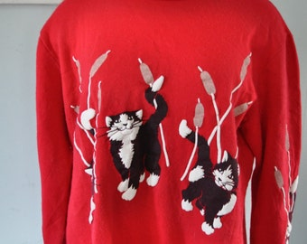 Cutest Kittie Sweatshirt Red Puffy Paint Design Cats  Kittens Ladies 80s 90s Oversized Comfy Slouchy Baggy