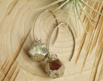 Faceted Raw Pyrite and Sterling Silver Modern Earrings
