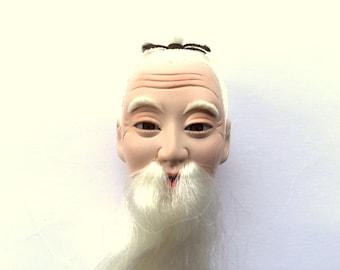Japanese Hina Matsuri Doll Head - Doll Head - Old Man Doll Head -  Body Part D4-65