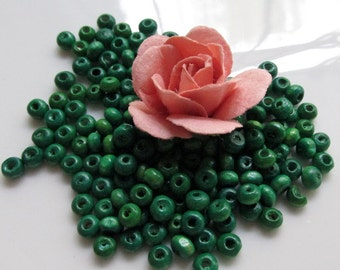 Small 3mm by 4mm Rondelle Wooden Spacer Beads in Dark Green 8 inches (20cm)