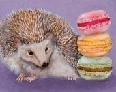 Hedgehogging the Macarons - 8''x12'' Print of an original Oil Painting