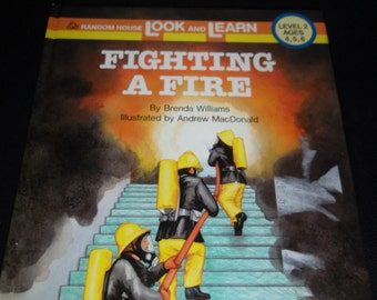 "1987  ""Fighting A Fire"" Random House Look and Learn Ages 2-6 1st American Edition"