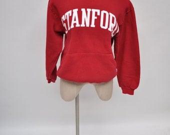 STANFORD vintage distressed HOODIE retro hooded sweatshirt 1980s oversized boyfriend fit