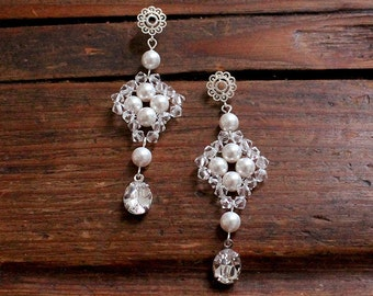 Ginnifer Bridal Earrings, Wedding Earrings, Bridesmaid Jewelry Gift, Bridal Jewelry, Elegant Earrings Gift for Her, Crystal Pearl Earrings