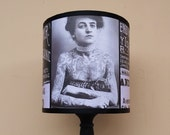 Vintage Tattoos Lampshade Lamp Shade - tattooed lady, lighting, retro, tattoo art, black and white, vintage picture,SPOOKY SHADES,rockabilly