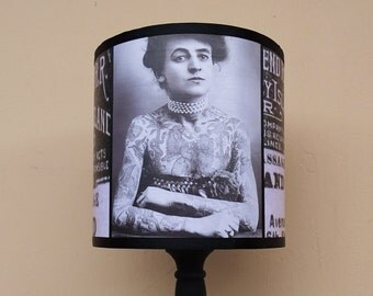 Vintage Tattoos Lampshade Lamp Shade - Tattoo shop decor, tattoo gifts, tattooed lady, lighting, black and white, Maud Wagner, Coney Island