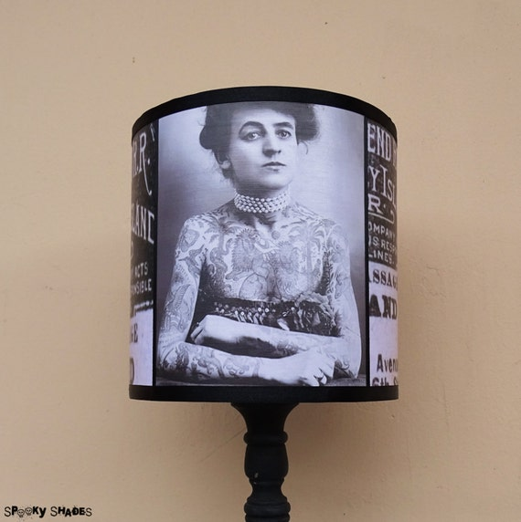 Vintage Tattoos Lampshade Lamp Shade - tattoo gifts, tattooed lady, lighting, retro, black and white, vintage, Maud Wagner, Coney Island