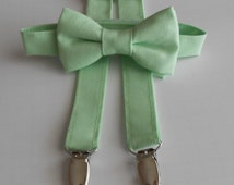 Mint Bowtie and Suspenders Set - Infant, Toddler, Boy            2 weeks before shipping