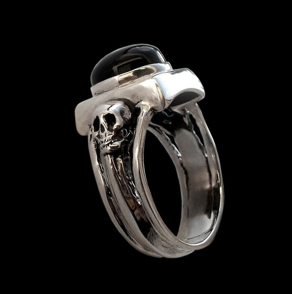 925 Solid Sterling Silver Dark Gothic Skull Ring with Black Onyx -  ALL SIZES - Love to Death