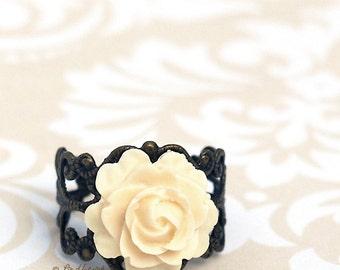 Rose Ring - Resin Flower Filigree Brass Ring - Elegant Ivory Rose Ring - Bohemian