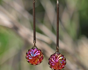 SALE! Sparkle Swirl Dangle Earrings, Titanium Wires, Brass, Cyclone Cabochons, Meteors- Galaxy Collection