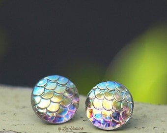 Iridescent Dragon Scale Studs on Stainless Steel Posts, Shimmer Earrings,  12mm