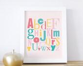 Alphabet Poster ABC Art Print Kids Art Print Baby Decor Letters Typography Teal Pink Yellow White Frame. ABC Print - Strawberry/Yellow