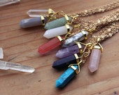 Gold Pendulum Crystal Necklace - Polished Crystals Gemstones Minerals Healing Chakra Boho Bohemian Point Points Minimalist Gold Plated