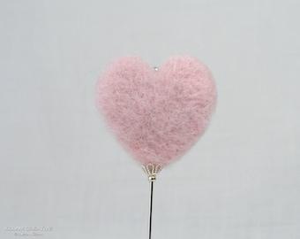 Needle Felted Stick Pin, Pink Heart Pin, 3 Inch Pin, Hat Pin, Lapel Pin, Hijab Pin H0195
