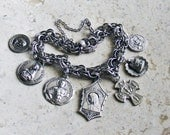 Passion of the Christ ~ Vintage AMERICAN STERLING Silver Catholic Medals Bracelet