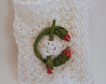 Hand-sculpted Floral Polymer Penannular Brooch - Stunning!