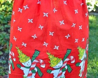 Vintage Christmas Apron - Candy Cane Snowmen on Red - Half Apron