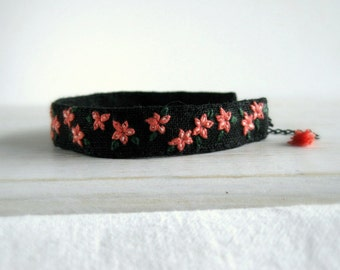 Cuff Bracelet - Coral Flowers Hand Embroidered on Black Linen - Handmade Jewelry by Sidereal - Gift For Her Under 40 - Ready to Ship