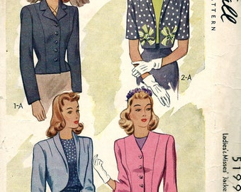 UNCUT * 1940's Fancy  Ladies' Jackets and Bolero   -  McCall  Pattern 5199  - FF - Size 16 - Bust 34