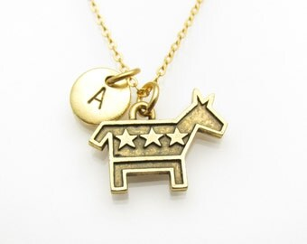 Democrat Donkey Necklace, Donkey Charm, Initial Necklace, Personalized Stamped Initial Letter, Monogram Necklace Democratic Party Z182