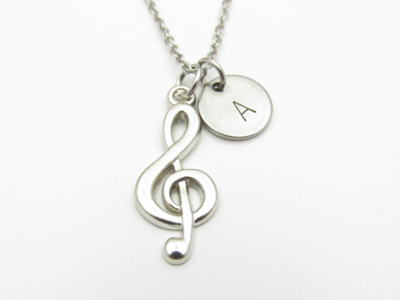 treble clef necklace silver treble g clef by cranberrystreetny