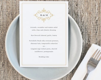 Printable Wedding Menu Template | INSTANT DOWNLOAD | Ornate | 5x7 | Editable Colors | Mac or PC | Word & Pages