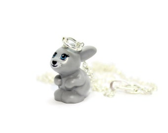 Gray Bunny Necklace made from New LEGO®  Bunny Figure, Grey Bunny