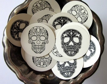 Day of the Dead Sugar Skull Tags Round Paper Gift Tags Set of 10