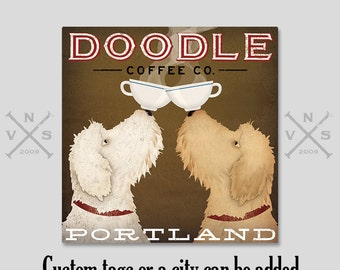 LABRADOODLE Coffee or Beer Brewing Personalized FREE GOLDENDOODLE Doodle Brewing Company  canvas Signed